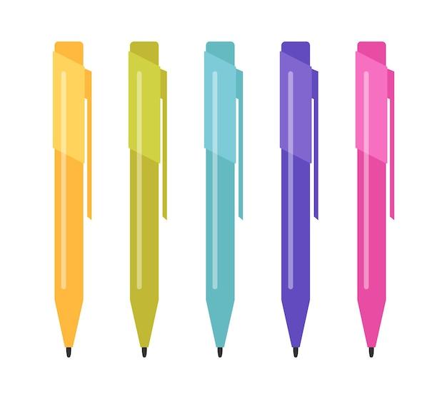 Ensemble de cinq stylos multicolores. illustration vectorielle