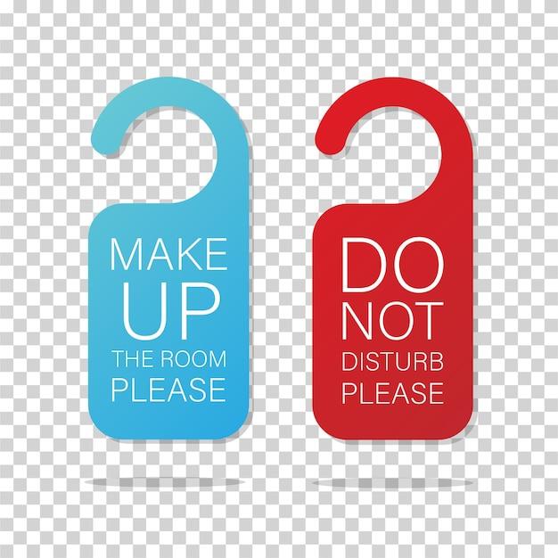 Ensemble de cintres d'avertissement de bouton de porte ne pas déranger et constituer le modèle de panneaux de porte