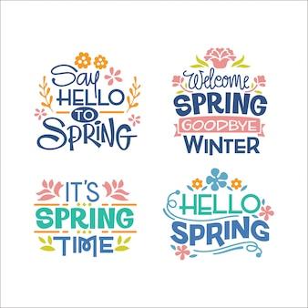 Ensemble de citation inspirante de l'écriture manuscrite sur la saison du printemps