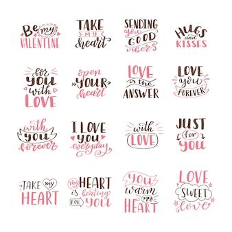 Ensemble de citations d'amour dessinés à la main. lettrage sur l'amour