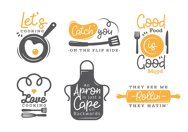 Ensemble De Citations De Cuisine Label, Typographie Et Lettrage Vecteur Premium