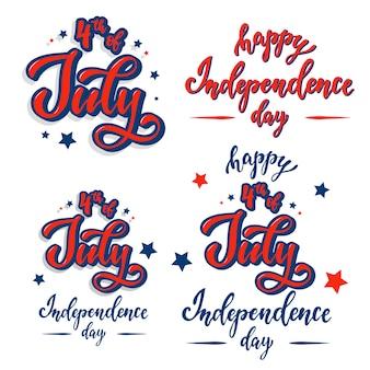 Ensemble de citations de lettrage pour le jour de l'indépendance