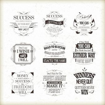 Ensemble de citations de motivation et d'inspiration de succès isolé sur fond beige
