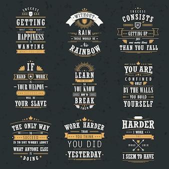 Ensemble de citations de motivation et d'inspiration de succès isolé sur fond noir