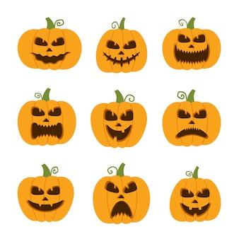 Ensemble de citrouille d'halloween heureux, drôle, mignon et effrayant. collection de personnages de dessins animés de vacances.