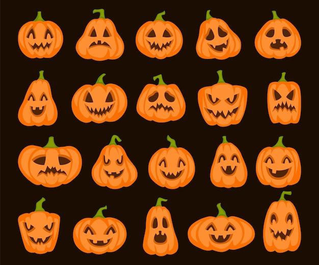 Ensemble de citrouille orange d'halloween. personnages de citrouilles de dessin animé jack lanterne, légumes avec des visages effrayants et effrayants et des dessins animés vectoriels effrayants pour la conception isolée sur fond noir