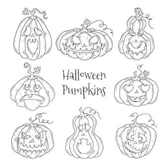 Ensemble de citrouilles décorées pour halloween
