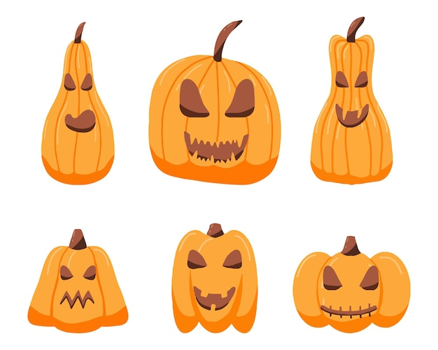Ensemble de citrouilles dessinées à la main pour halloween citrouilles d'halloween maléfiques