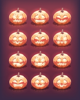 Ensemble de citrouilles d'halloween brillant. émotions faciales sculptées. illustration.