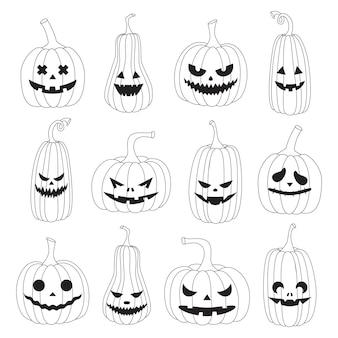 Un ensemble de citrouilles d'halloween contour blanc noir avec différentes expressions faciales effrayantes dessinées à la main