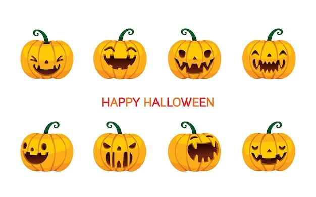 Ensemble de citrouilles d'halloween avec différentes émotions