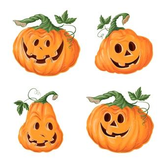 Ensemble de citrouilles d'halloween, des grimaces. vacances d'automne