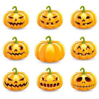 Ensemble de citrouilles d'halloween isolé sur blanc