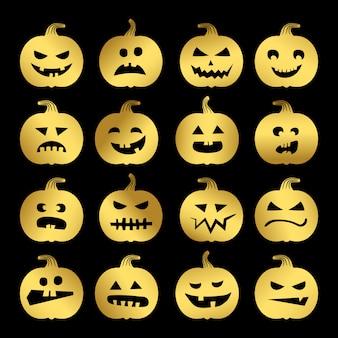Ensemble de citrouilles halloween or