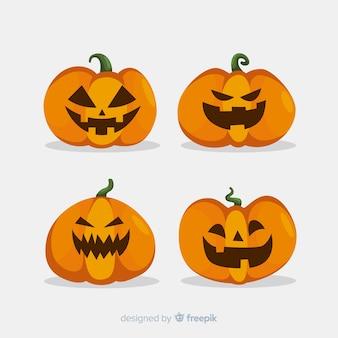 Ensemble de citrouilles d'halloween plates