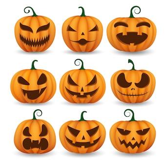 Ensemble de citrouilles d'halloween, visages drôles.
