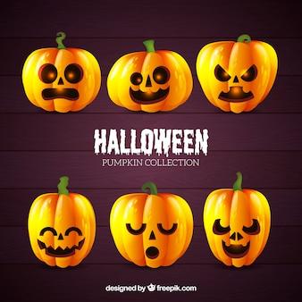 Ensemble de citrouilles halloween avec visages