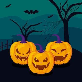 Ensemble de citrouilles en scène halloween