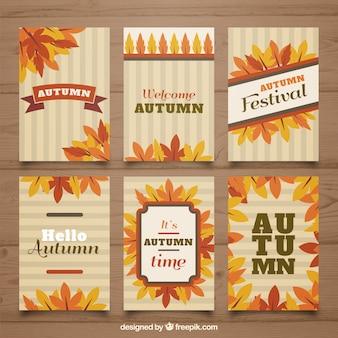 Ensemble classique de cartes d'automne avec un design plat
