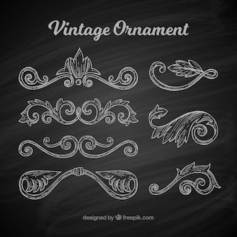 Ensemble classique d'ornements vintage avec style balckboard