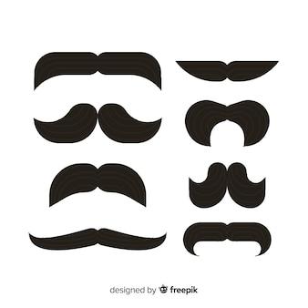 Ensemble classique de moustaches avec un design plat
