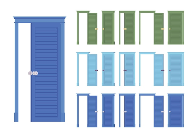 Ensemble classique de portes affleurantes, entrée en bois du bâtiment, pièce