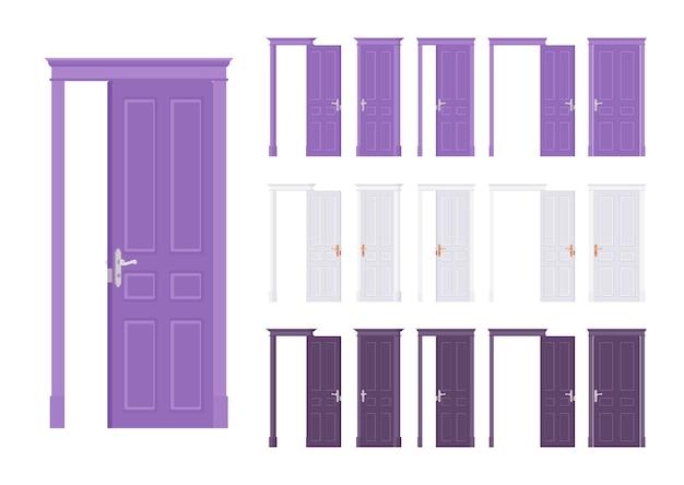 Ensemble classique de portes affleurantes, entrée principale en bois au bâtiment, pièce