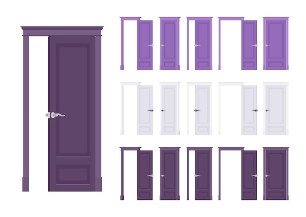 Ensemble classique de portes affleurantes