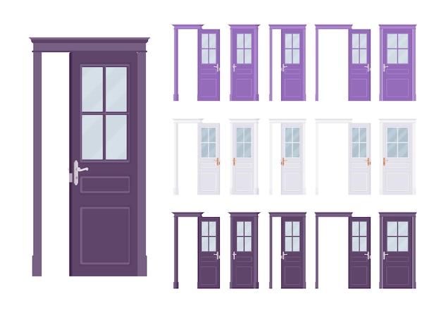 Ensemble classique de portes, demi-verre en bois, entrée d'un immeuble, chambre