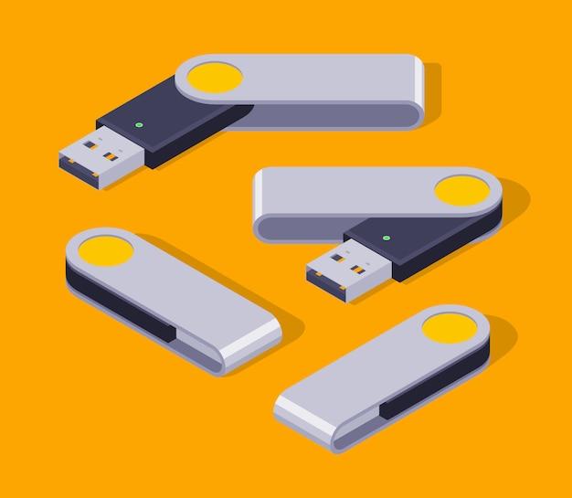 Ensemble de clés usb isométriques