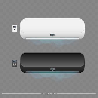 Ensemble de climatiseurs 3d. climatiseur vectoriel réaliste.