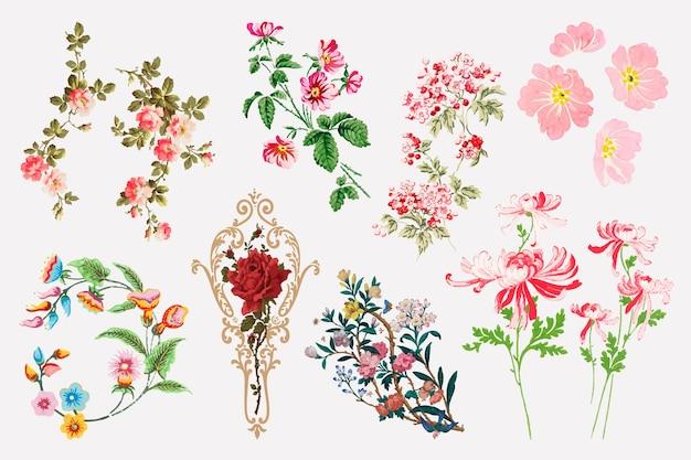 Ensemble de clipart fleur colorée de vecteur