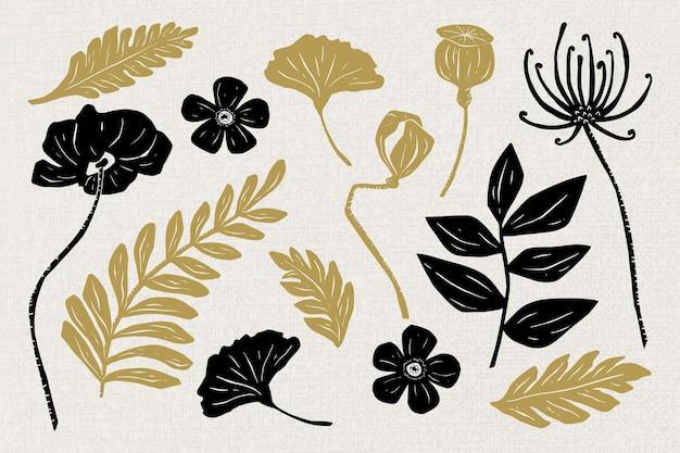 Ensemble de clipart floral de vecteur de fleurs noires d'or