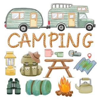 Ensemble de clipart de fournitures de camping peint à l'aquarelle. dessiné à la main isolé sur fond blanc.