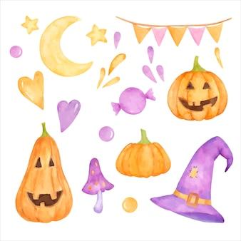 Ensemble de clipart halloween aquarelle.