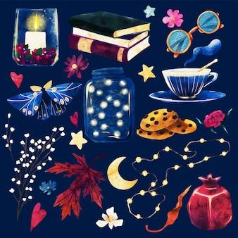 Ensemble de cliparts de nuit confortable avec des livres et une tasse de thé