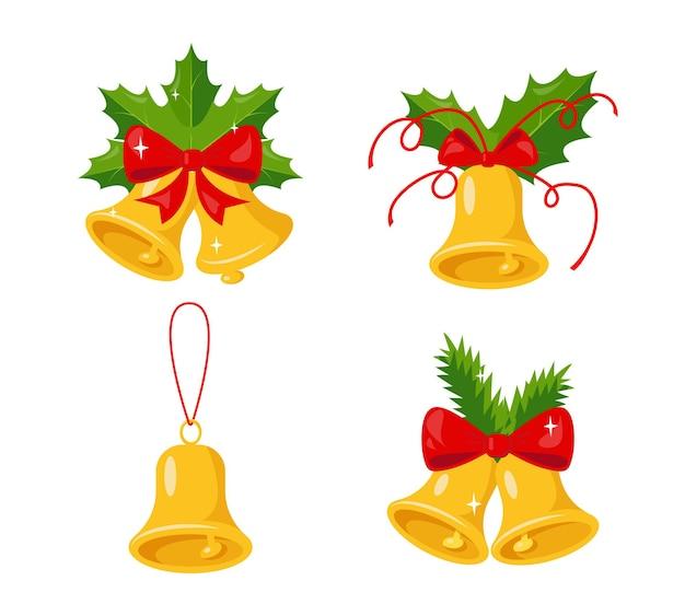 Ensemble de cloches dorées avec des branches vertes et un ruban d'arc rouge symbole de noël et du nouvel an