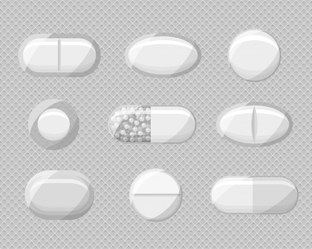 Ensemble de cloques de pilules réalistes avec des comprimés et des capsules.