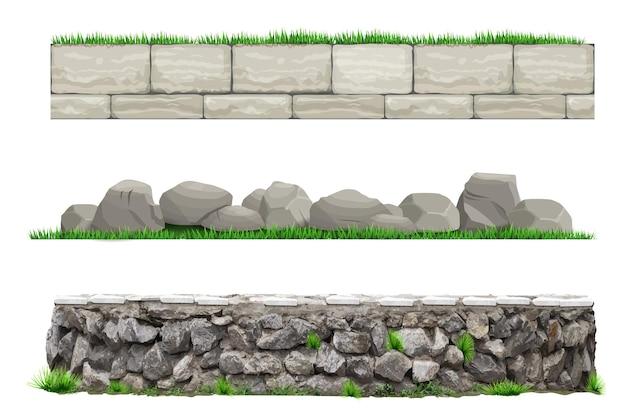 Ensemble de clôtures murales anciennes en pierre de vecteur