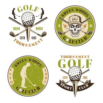Ensemble de club de golf de quatre emblèmes, badges, étiquettes ou logos vectoriels colorés dans un style vintage isolé sur fond blanc
