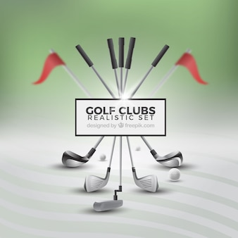 Ensemble de clubs de golf réaliste
