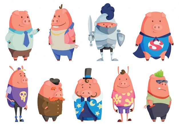 Ensemble de cochons dessin animé heureux.