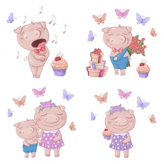 Ensemble de cochons de dessin animé mignon.