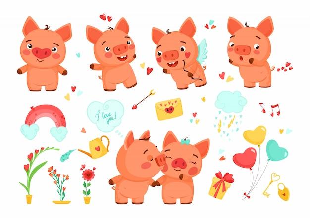 Ensemble de cochons de dessin animé