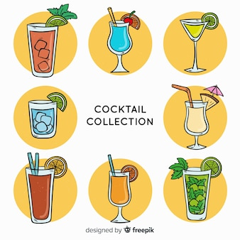 Ensemble de cocktail dessiné à la main