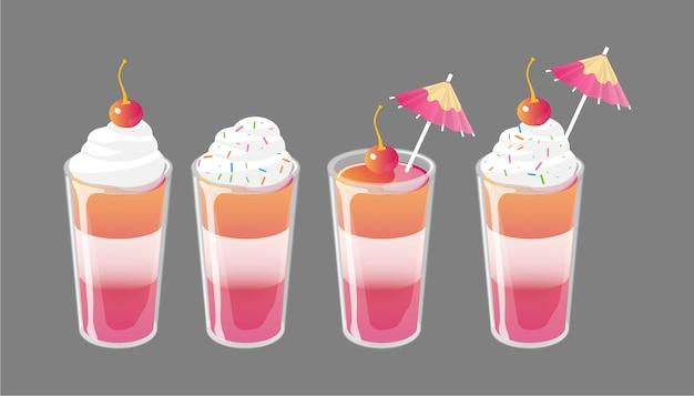 Ensemble de cocktail gélatine tourné avec garnitures. concept d'annonces de boisson sucrée fraîche.