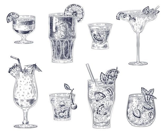Ensemble de cocktails de croquis