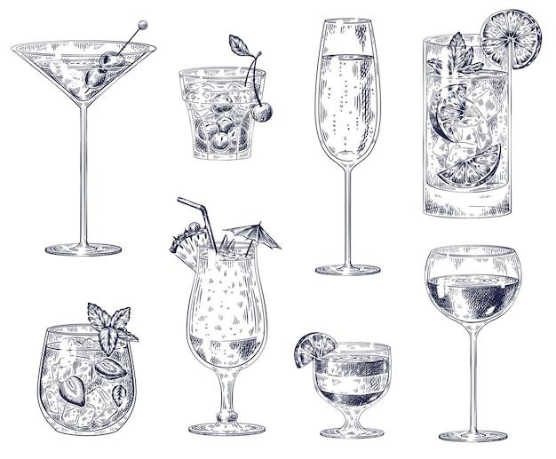 Ensemble de cocktails dessinés à la main