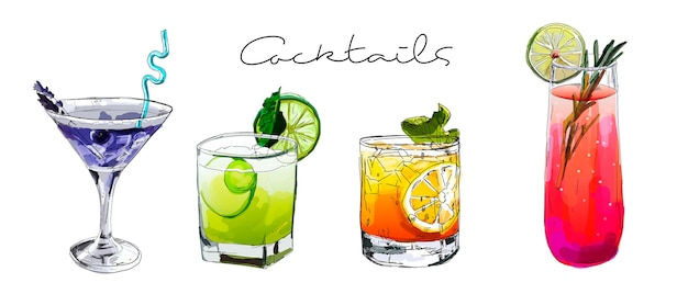 Ensemble de cocktails dessinés à la main.