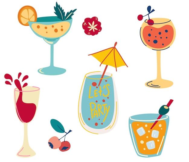 Ensemble de cocktails. dessinez à la main des boissons alcoolisées, des cocktails rafraîchissants avec des glaçons, des baies